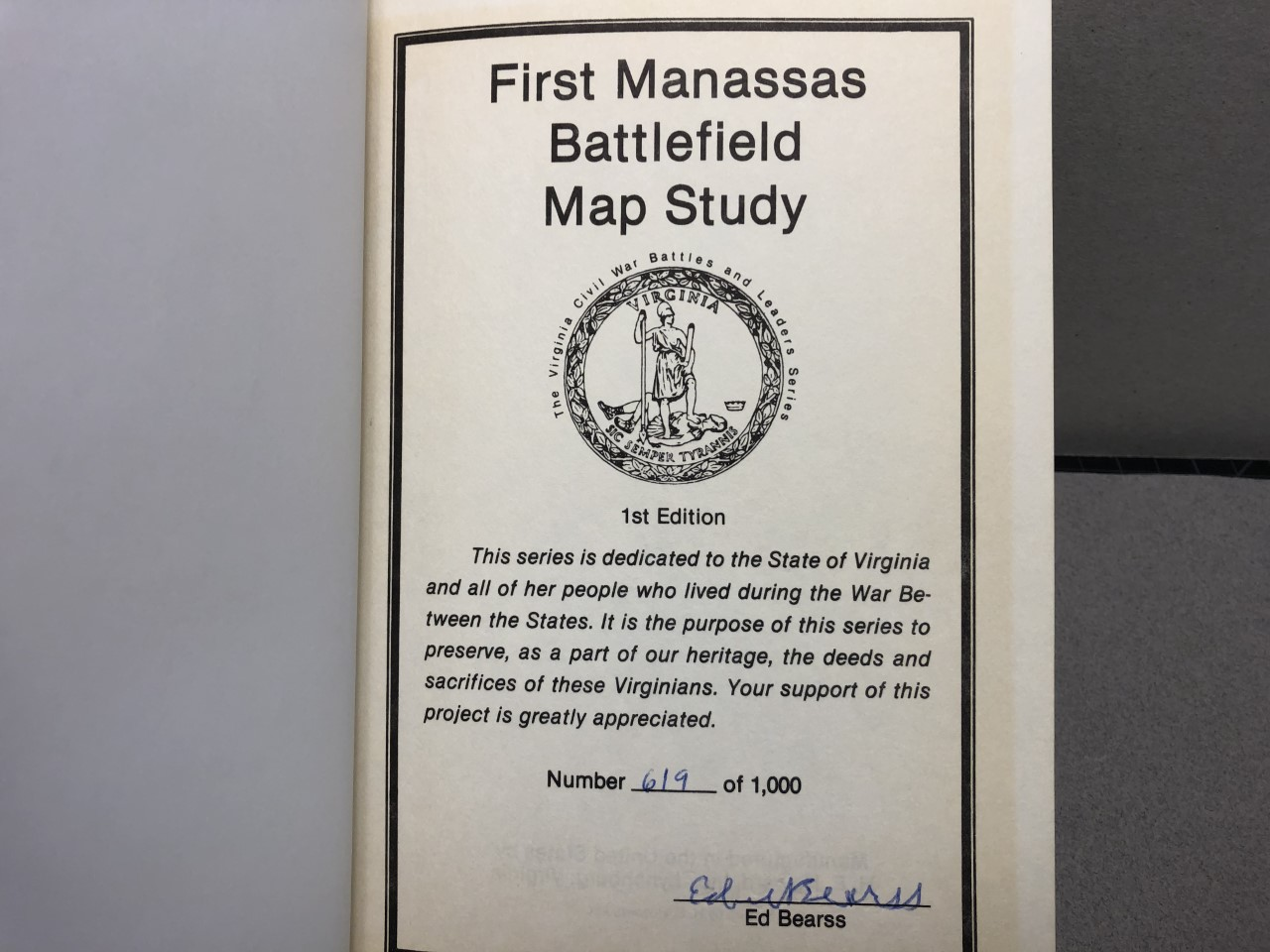 Image for First Manassas Battlefield Map Study ( signed )