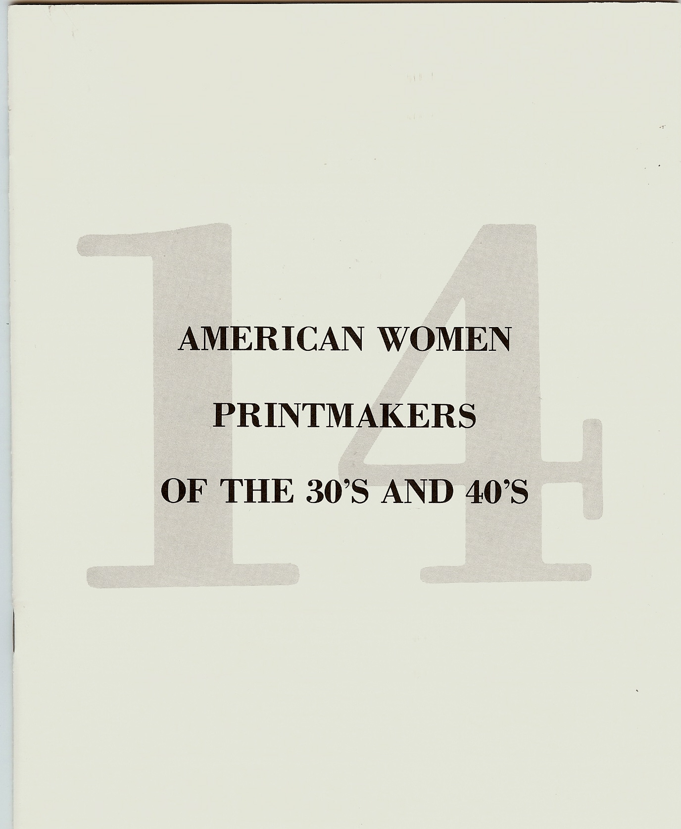 AMERICAN WOMEN PRINTMAKERS OF THE 30's AND 40's