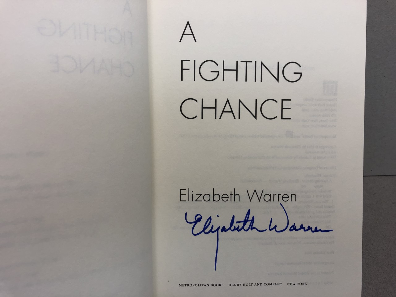 Image for A FIGHTING CHANCE :  ( signed )